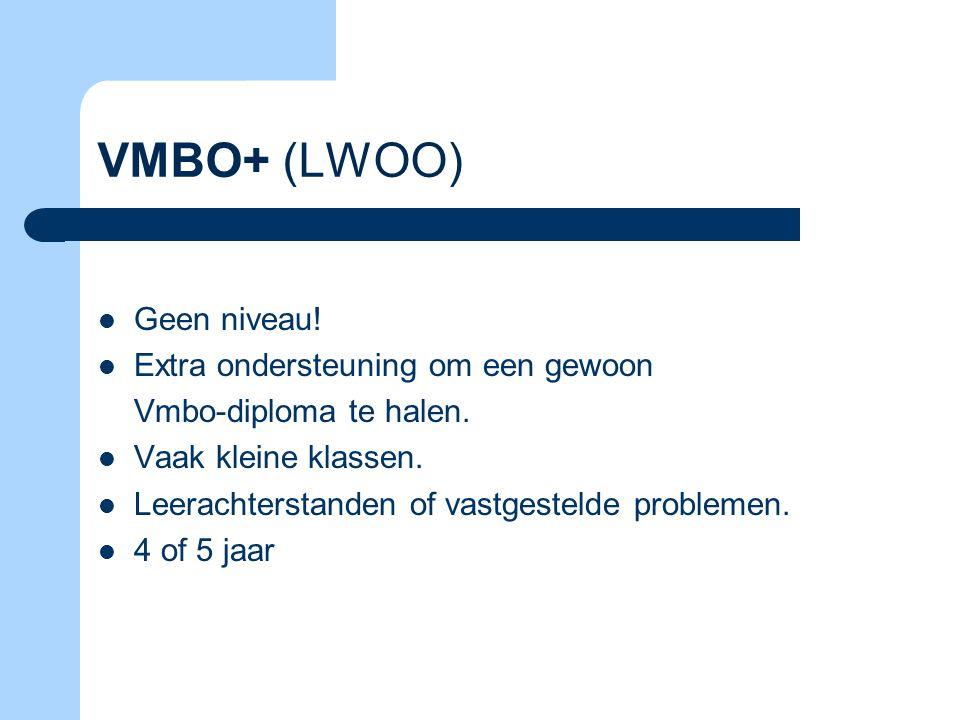 VMBO+ (LWOO) Geen niveau! Extra ondersteuning om een gewoon Vmbo-diploma te halen. Vaak kleine klassen. Leerachterstanden of vastgestelde problemen. 4
