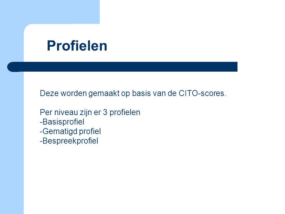 Profielen Deze worden gemaakt op basis van de CITO-scores. Per niveau zijn er 3 profielen -Basisprofiel -Gematigd profiel -Bespreekprofiel