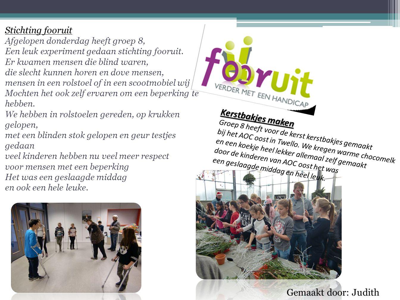 Stichting fooruit Afgelopen donderdag heeft groep 8, Een leuk experiment gedaan stichting fooruit.