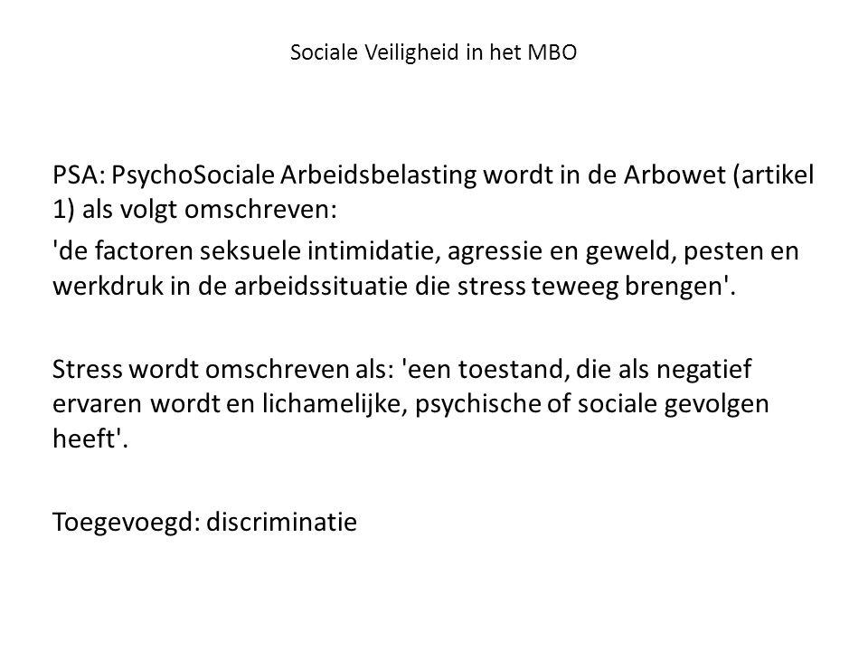 Sociale Veiligheid in het MBO PSA: PsychoSociale Arbeidsbelasting wordt in de Arbowet (artikel 1) als volgt omschreven: 'de factoren seksuele intimida