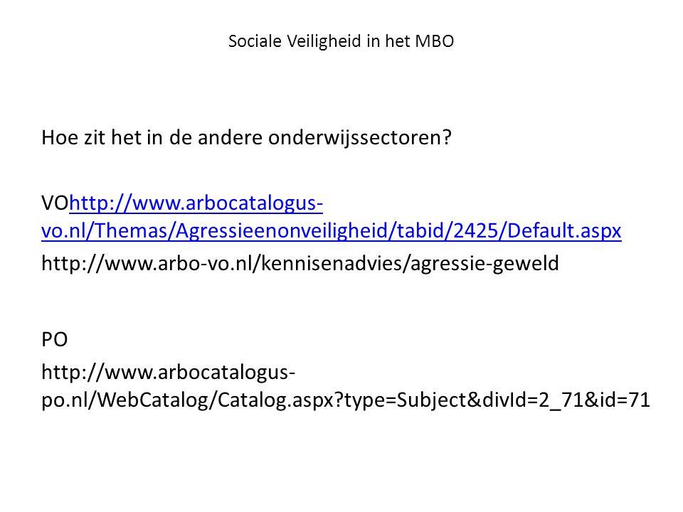 Sociale Veiligheid in het MBO Hoe zit het in de andere onderwijssectoren? VOhttp://www.arbocatalogus- vo.nl/Themas/Agressieenonveiligheid/tabid/2425/D