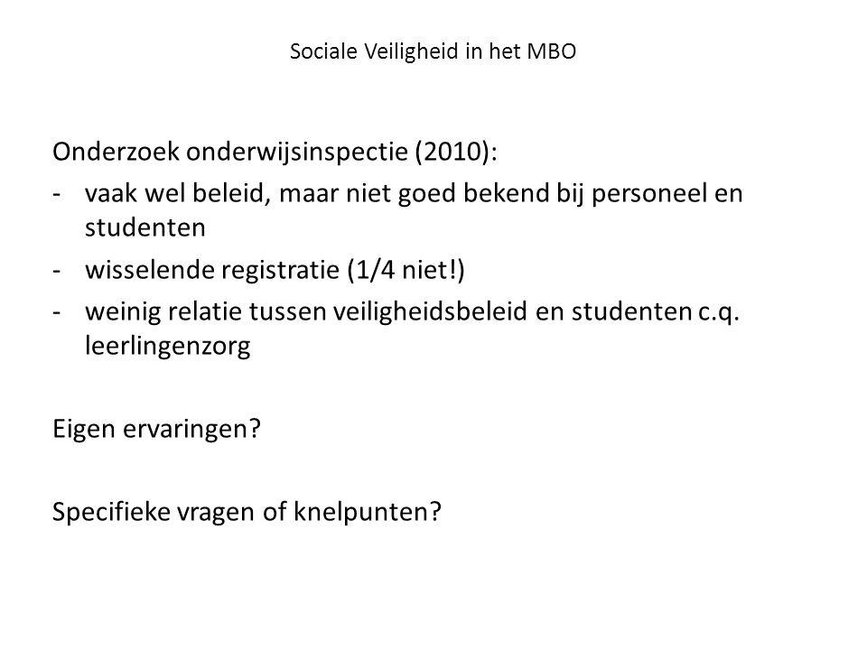 Sociale Veiligheid in het MBO Onderzoek onderwijsinspectie (2010): -vaak wel beleid, maar niet goed bekend bij personeel en studenten -wisselende regi