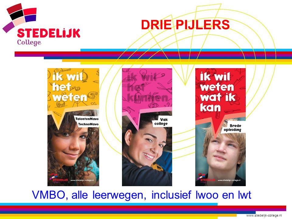 www.stedelijk-college.nl DRIE PIJLERS VMBO, alle leerwegen, inclusief lwoo en lwt