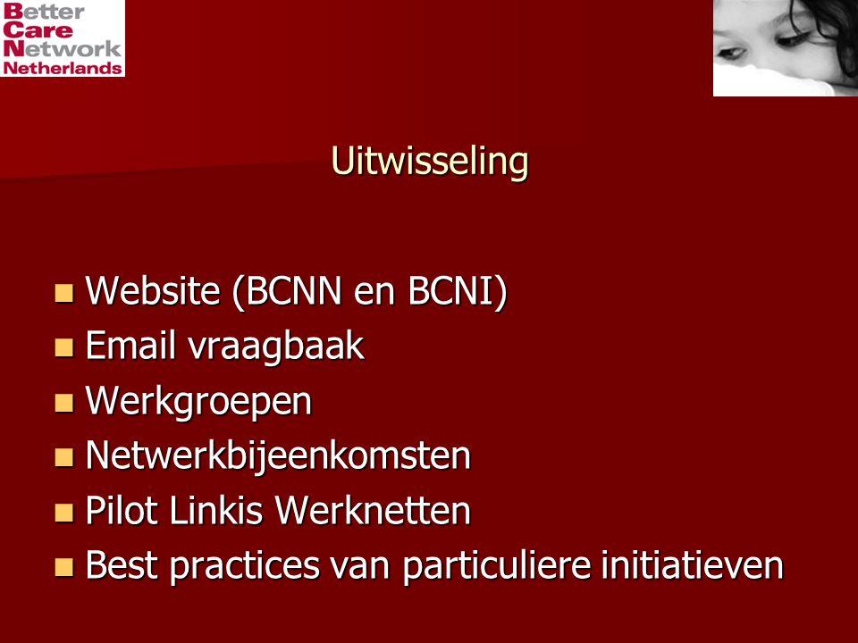 Uitwisseling Website (BCNN en BCNI) Website (BCNN en BCNI) Email vraagbaak Email vraagbaak Werkgroepen Werkgroepen Netwerkbijeenkomsten Netwerkbijeenkomsten Pilot Linkis Werknetten Pilot Linkis Werknetten Best practices van particuliere initiatieven Best practices van particuliere initiatieven