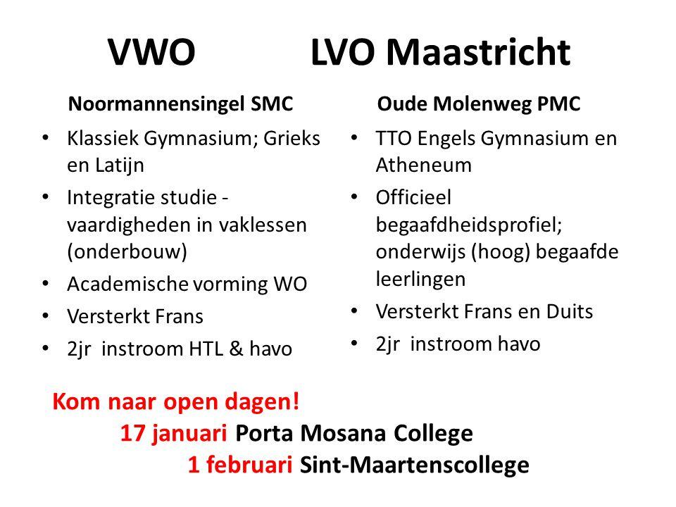 VWO LVO Maastricht Noormannensingel SMC Klassiek Gymnasium; Grieks en Latijn Integratie studie - vaardigheden in vaklessen (onderbouw) Academische vor