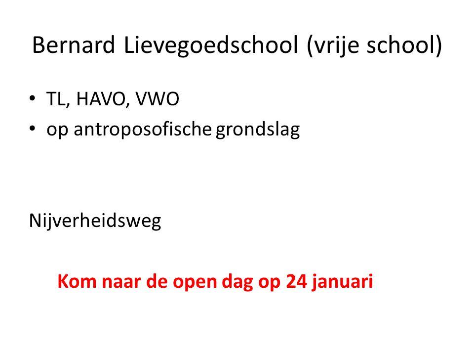 Bernard Lievegoedschool (vrije school) TL, HAVO, VWO op antroposofische grondslag Nijverheidsweg Kom naar de open dag op 24 januari