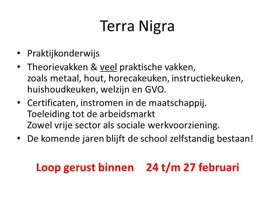 Terra Nigra Praktijkonderwijs Theorievakken & veel praktische vakken, zoals metaal, hout, horecakeuken, instructiekeuken, huishoudkeuken, welzijn en G