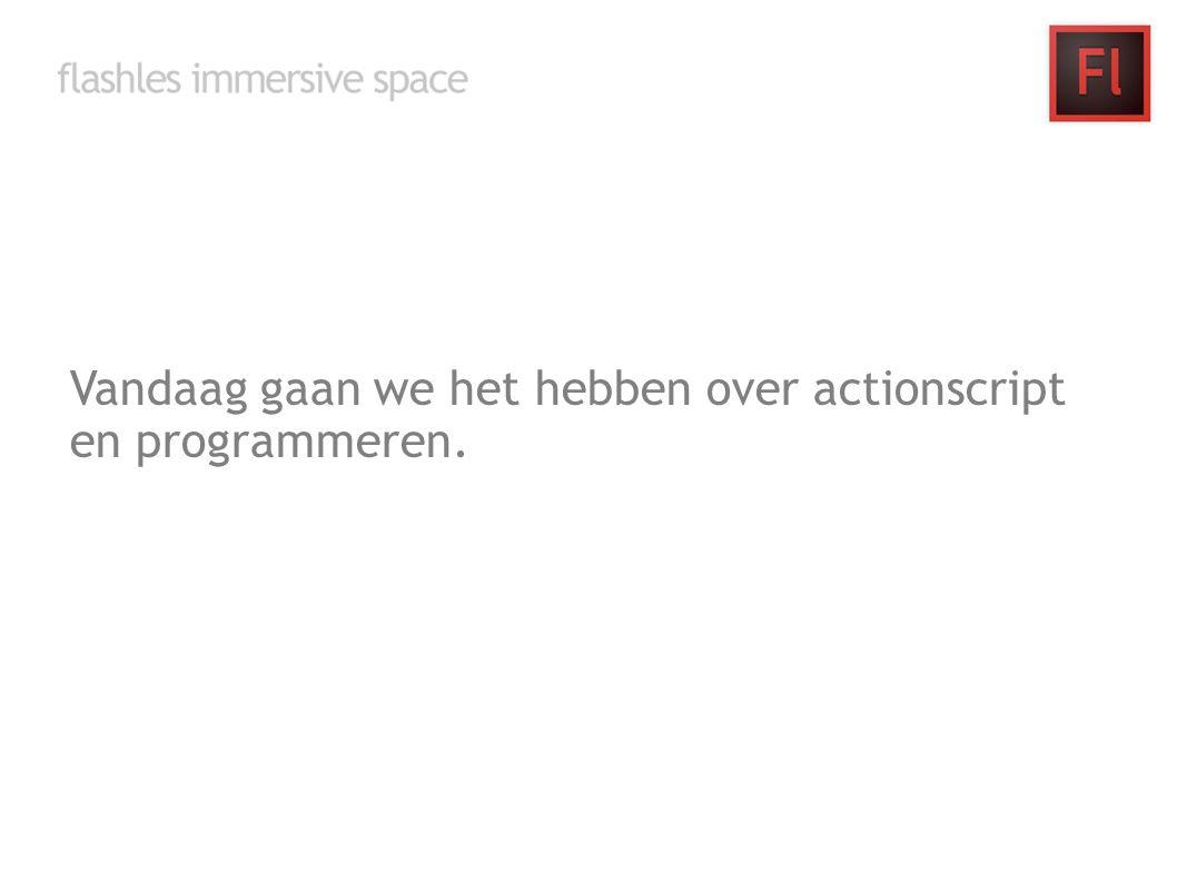 Vandaag gaan we het hebben over actionscript en programmeren.