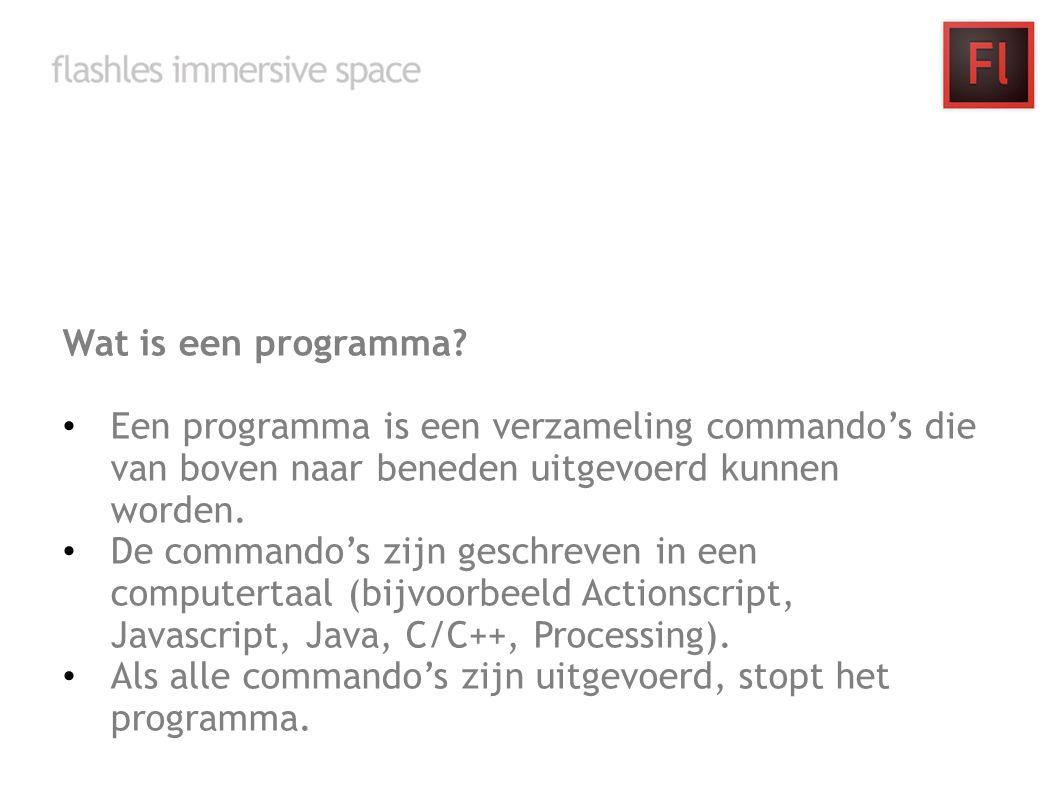 Wat is een programma? Een programma is een verzameling commando's die van boven naar beneden uitgevoerd kunnen worden. De commando's zijn geschreven i