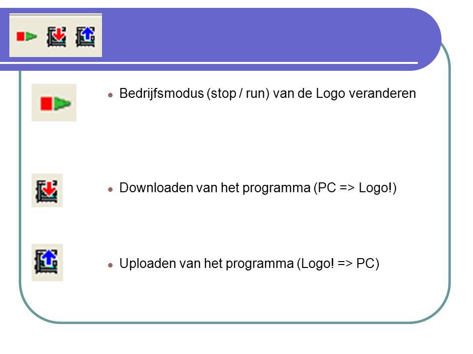 Bedrijfsmodus (stop / run) van de Logo veranderen Downloaden van het programma (PC => Logo!) Uploaden van het programma (Logo! => PC)