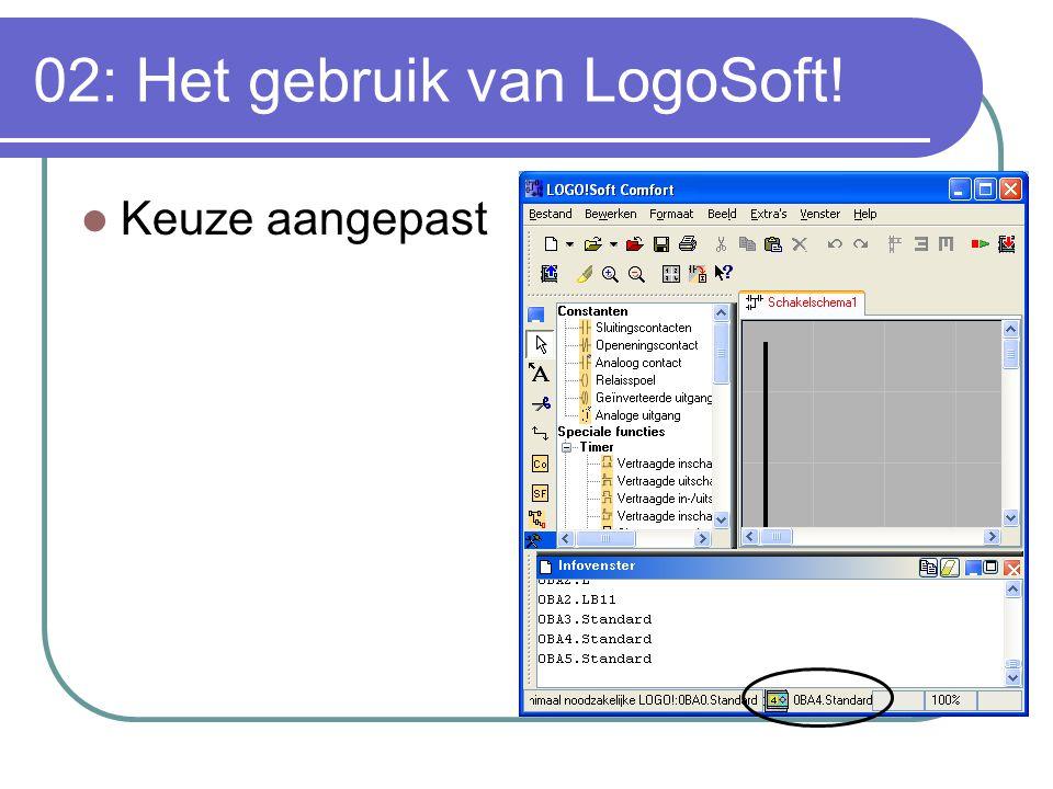 02: Het gebruik van LogoSoft! Keuze aangepast