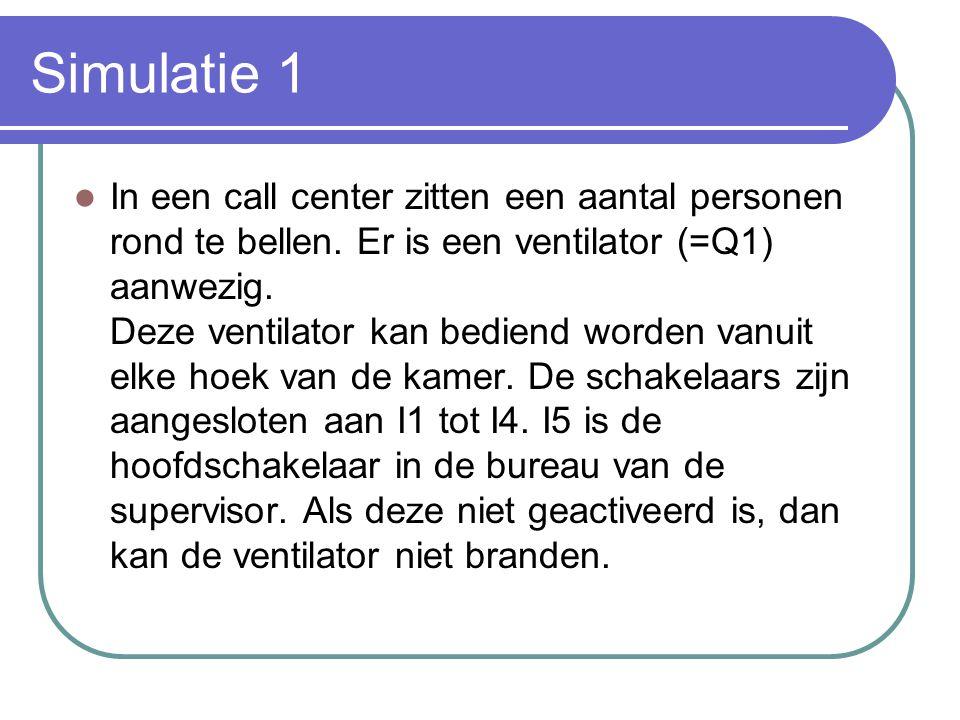 Simulatie 1 In een call center zitten een aantal personen rond te bellen. Er is een ventilator (=Q1) aanwezig. Deze ventilator kan bediend worden vanu