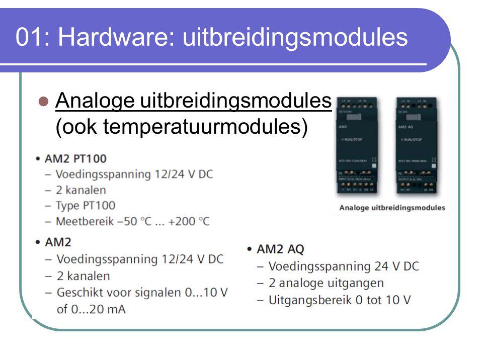 01: Hardware: uitbreidingsmodules Analoge uitbreidingsmodules (ook temperatuurmodules)