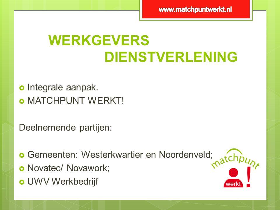 WERKGEVERS DIENSTVERLENING  Integrale aanpak.  MATCHPUNT WERKT! Deelnemende partijen:  Gemeenten: Westerkwartier en Noordenveld;  Novatec/ Novawor