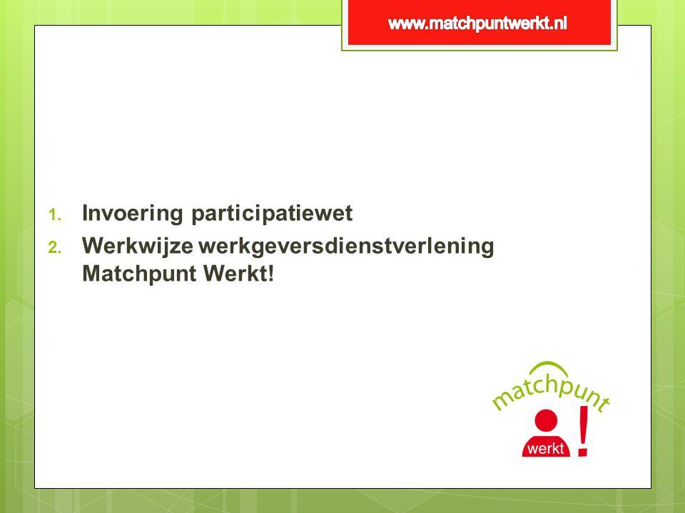 1. Invoering participatiewet 2. Werkwijze werkgeversdienstverlening Matchpunt Werkt!