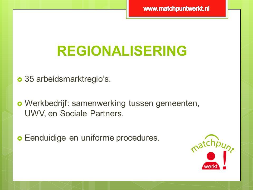 REGIONALISERING  35 arbeidsmarktregio's.  Werkbedrijf: samenwerking tussen gemeenten, UWV, en Sociale Partners.  Eenduidige en uniforme procedures.