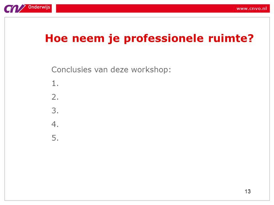 www.cnvo.nl Hoe neem je professionele ruimte? 13 Conclusies van deze workshop: 1. 2. 3. 4. 5.