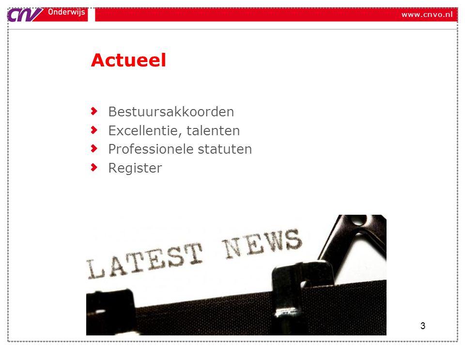 www.cnvo.nl Actueel Bestuursakkoorden Excellentie, talenten Professionele statuten Register 3