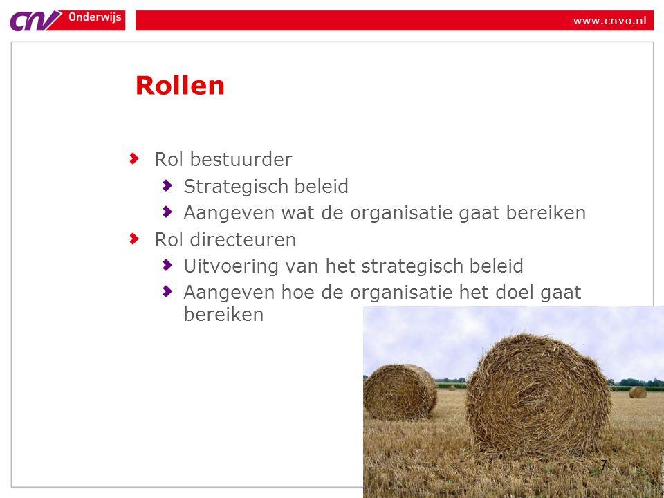 www.cnvo.nl Rollen Rol bestuurder Strategisch beleid Aangeven wat de organisatie gaat bereiken Rol directeuren Uitvoering van het strategisch beleid A