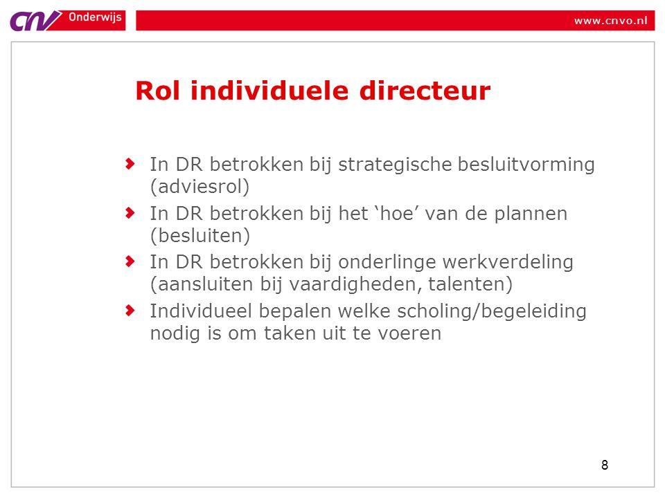 www.cnvo.nl Rol individuele directeur In DR betrokken bij strategische besluitvorming (adviesrol) In DR betrokken bij het 'hoe' van de plannen (beslui
