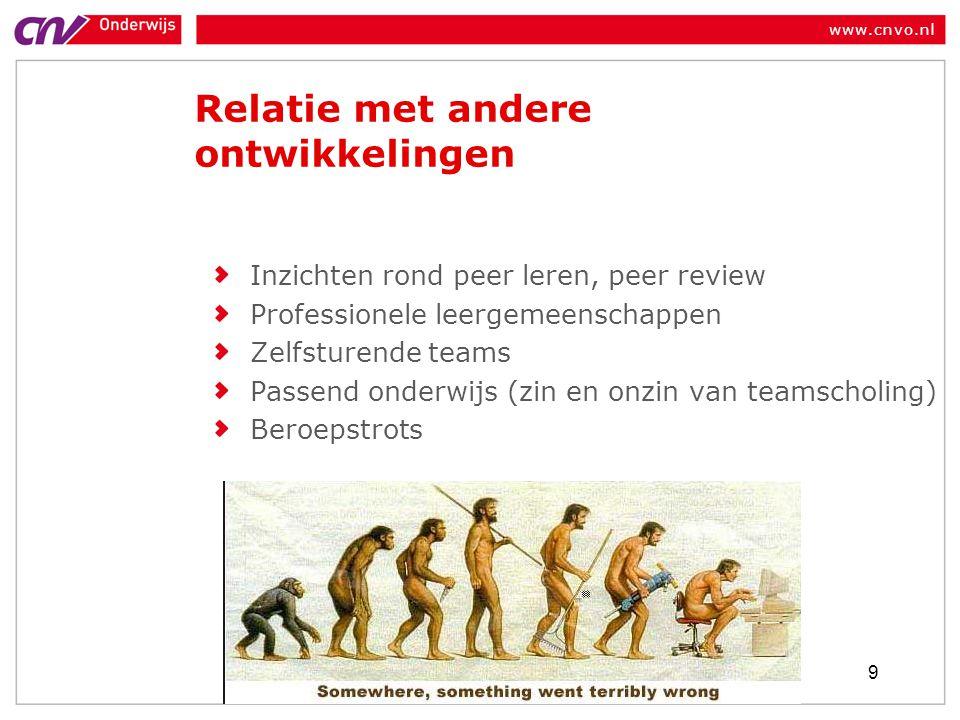 www.cnvo.nl Relatie met andere ontwikkelingen Inzichten rond peer leren, peer review Professionele leergemeenschappen Zelfsturende teams Passend onderwijs (zin en onzin van teamscholing) Beroepstrots 9