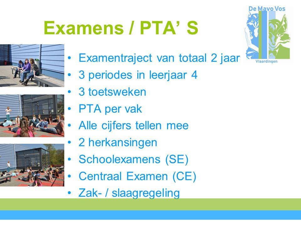 Examens / PTA' S Examentraject van totaal 2 jaar 3 periodes in leerjaar 4 3 toetsweken PTA per vak Alle cijfers tellen mee 2 herkansingen Schoolexamens (SE) Centraal Examen (CE) Zak- / slaagregeling