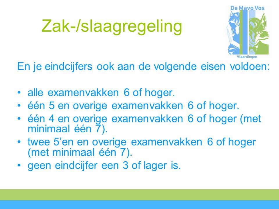 Zak-/slaagregeling En je eindcijfers ook aan de volgende eisen voldoen: alle examenvakken 6 of hoger.