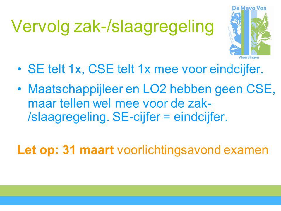 Vervolg zak-/slaagregeling SE telt 1x, CSE telt 1x mee voor eindcijfer.