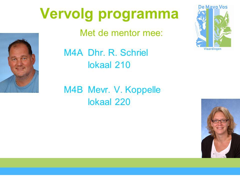 Vervolg programma Met de mentor mee: M4ADhr. R. Schriel lokaal 210 M4BMevr. V. Koppelle lokaal 220
