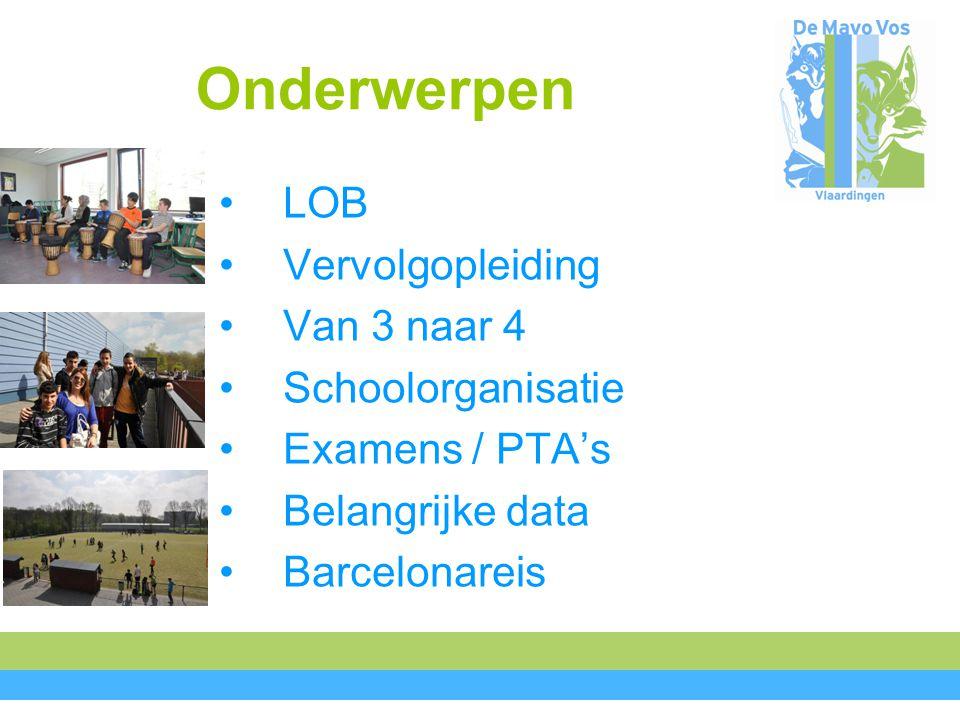 Onderwerpen LOB Vervolgopleiding Van 3 naar 4 Schoolorganisatie Examens / PTA's Belangrijke data Barcelonareis