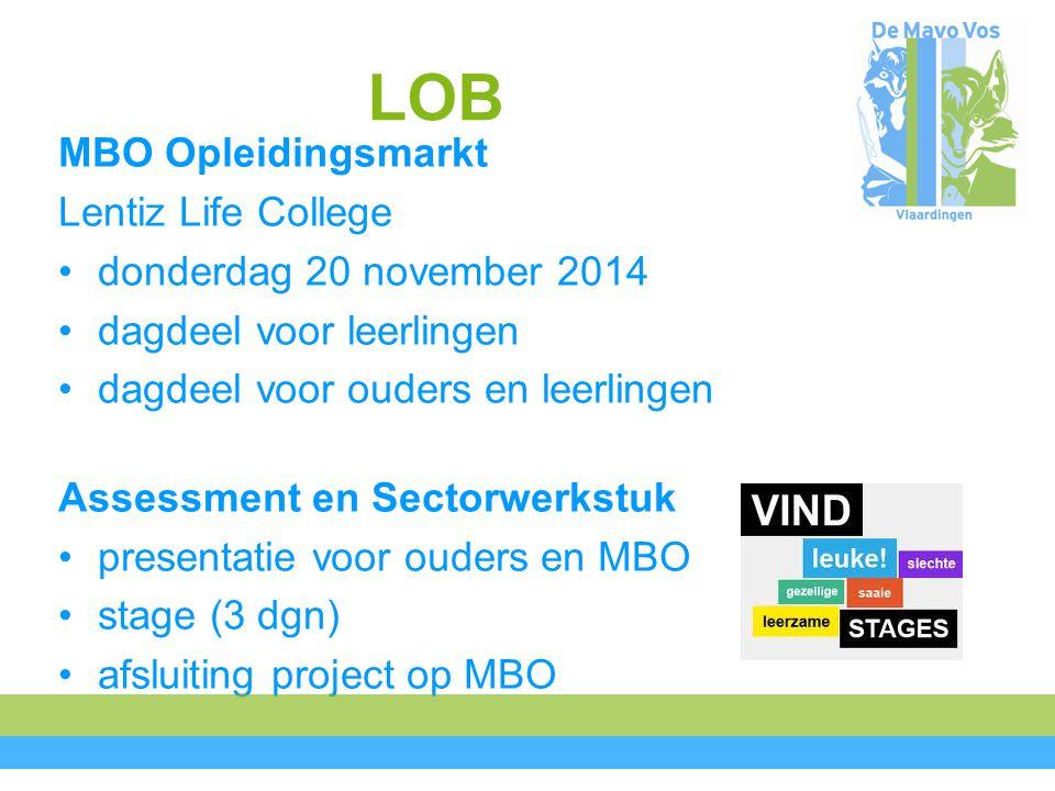 LOB MBO Opleidingsmarkt Lentiz Life College donderdag 20 november 2014 dagdeel voor leerlingen dagdeel voor ouders en leerlingen Assessment en Sectorwerkstuk presentatie voor ouders en MBO stage (3 dgn) afsluiting project op MBO