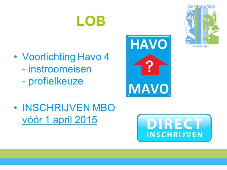 LOB Voorlichting Havo 4 - instroomeisen - profielkeuze INSCHRIJVEN MBO vóór 1 april 2015