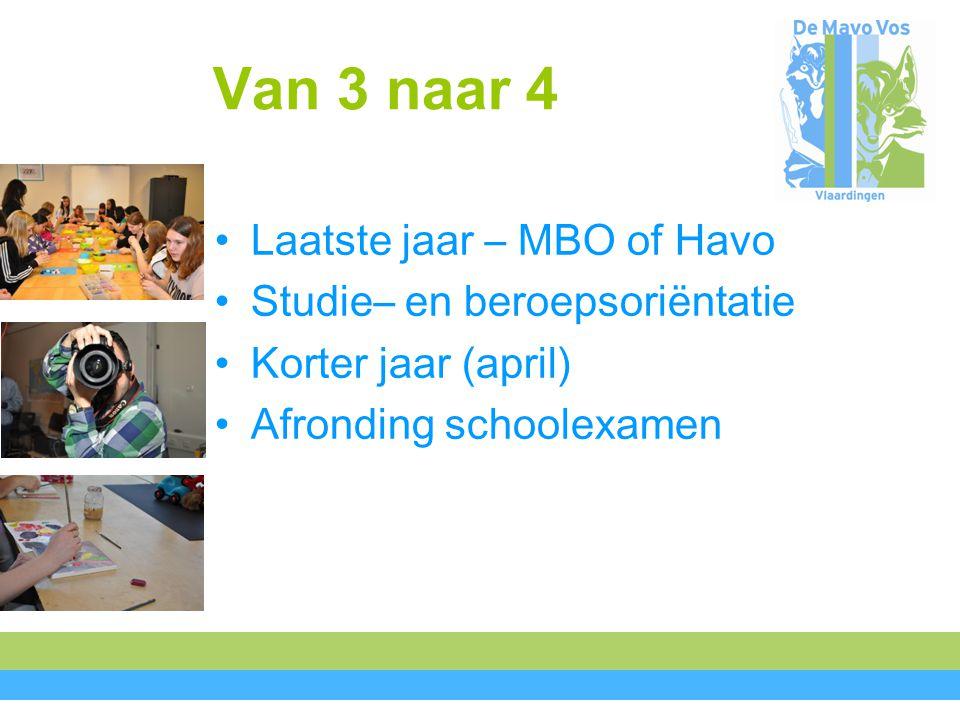 Van 3 naar 4 Laatste jaar – MBO of Havo Studie– en beroepsoriëntatie Korter jaar (april) Afronding schoolexamen
