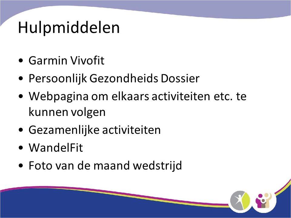 Hulpmiddelen Garmin Vivofit Persoonlijk Gezondheids Dossier Webpagina om elkaars activiteiten etc.