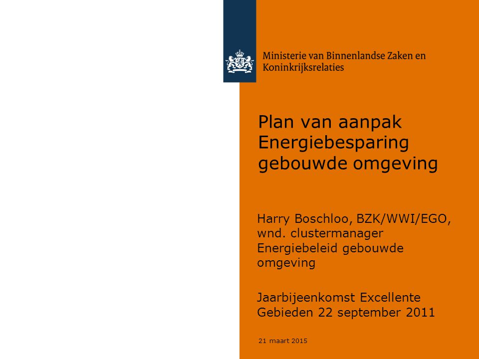 21 maart 2015 Plan van aanpak Energiebesparing gebouwde omgeving Harry Boschloo, BZK/WWI/EGO, wnd. clustermanager Energiebeleid gebouwde omgeving Jaar