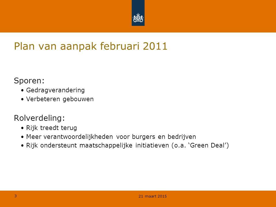 3 Plan van aanpak februari 2011 Sporen: Gedragverandering Verbeteren gebouwen Rolverdeling: Rijk treedt terug Meer verantwoordelijkheden voor burgers