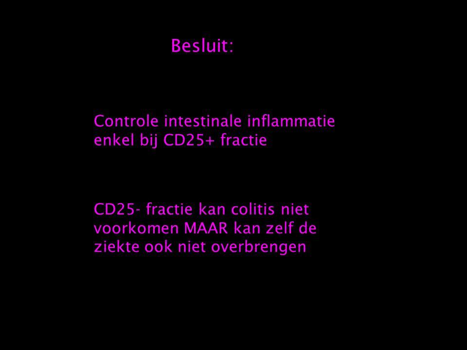 Besluit: Controle intestinale inflammatie enkel bij CD25+ fractie CD25- fractie kan colitis niet voorkomen MAAR kan zelf de ziekte ook niet overbrengen