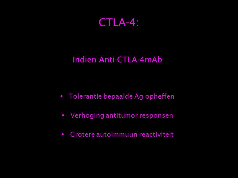 CTLA-4: Indien Anti-CTLA-4mAb  Tolerantie bepaalde Ag opheffen  Verhoging antitumor responsen  Grotere autoimmuun reactiviteit