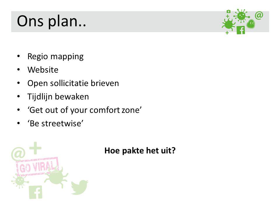 Ons plan.. Regio mapping Website Open sollicitatie brieven Tijdlijn bewaken 'Get out of your comfort zone' 'Be streetwise' Hoe pakte het uit?