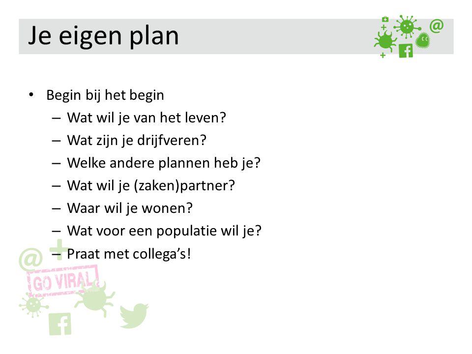 Je eigen plan Begin bij het begin – Wat wil je van het leven? – Wat zijn je drijfveren? – Welke andere plannen heb je? – Wat wil je (zaken)partner? –