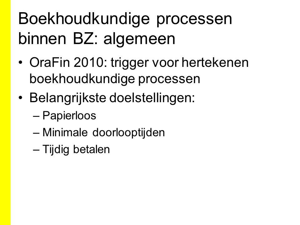 Boekhoudkundige processen binnen BZ: algemeen OraFin 2010: trigger voor hertekenen boekhoudkundige processen Belangrijkste doelstellingen: –Papierloos