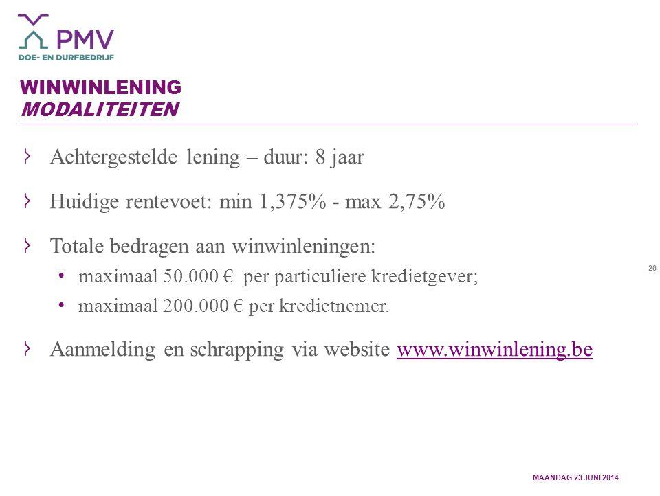 20 WINWINLENING MODALITEITEN Achtergestelde lening – duur: 8 jaar Huidige rentevoet: min 1,375% - max 2,75% Totale bedragen aan winwinleningen: maximaal 50.000 € per particuliere kredietgever; maximaal 200.000 € per kredietnemer.