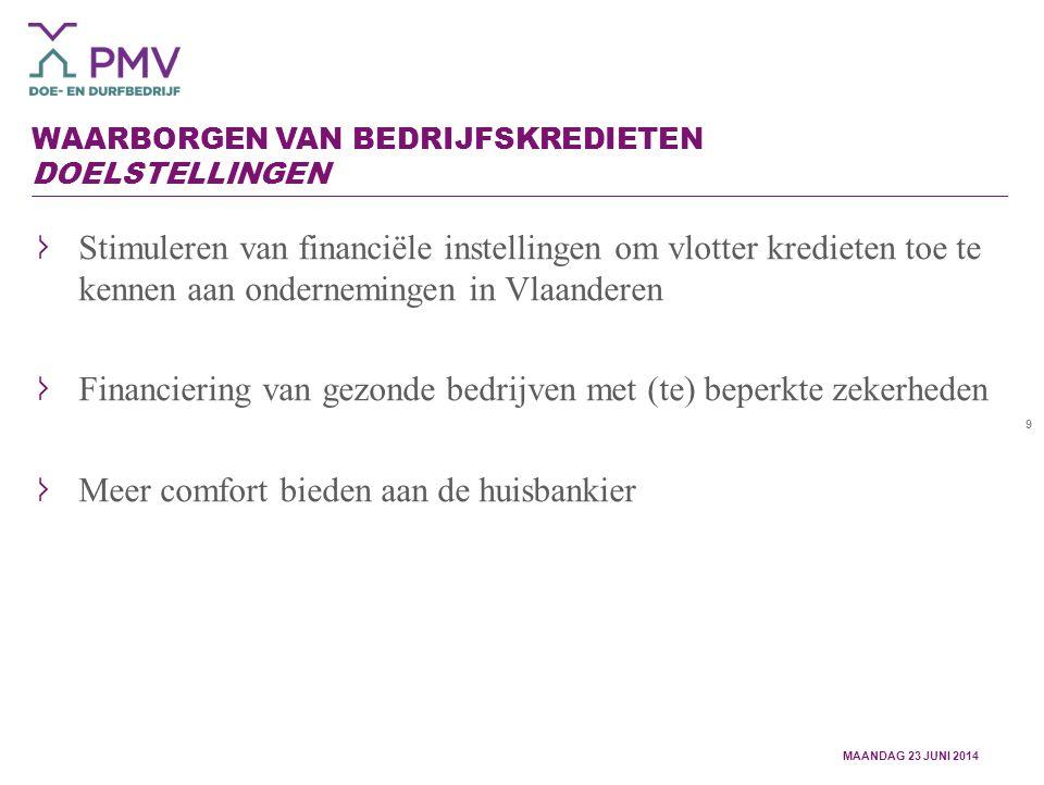 9 WAARBORGEN VAN BEDRIJFSKREDIETEN DOELSTELLINGEN Stimuleren van financiële instellingen om vlotter kredieten toe te kennen aan ondernemingen in Vlaanderen Financiering van gezonde bedrijven met (te) beperkte zekerheden Meer comfort bieden aan de huisbankier MAANDAG 23 JUNI 2014