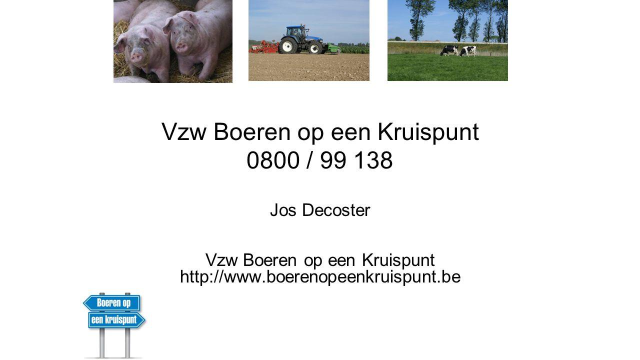 Vzw Boeren op een Kruispunt 0800 / 99 138 Jos Decoster Vzw Boeren op een Kruispunt http://www.boerenopeenkruispunt.be