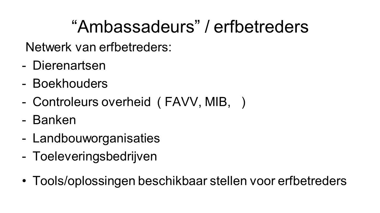Ambassadeurs / erfbetreders Netwerk van erfbetreders: -Dierenartsen -Boekhouders -Controleurs overheid ( FAVV, MIB, ) -Banken -Landbouworganisaties -Toeleveringsbedrijven Tools/oplossingen beschikbaar stellen voor erfbetreders