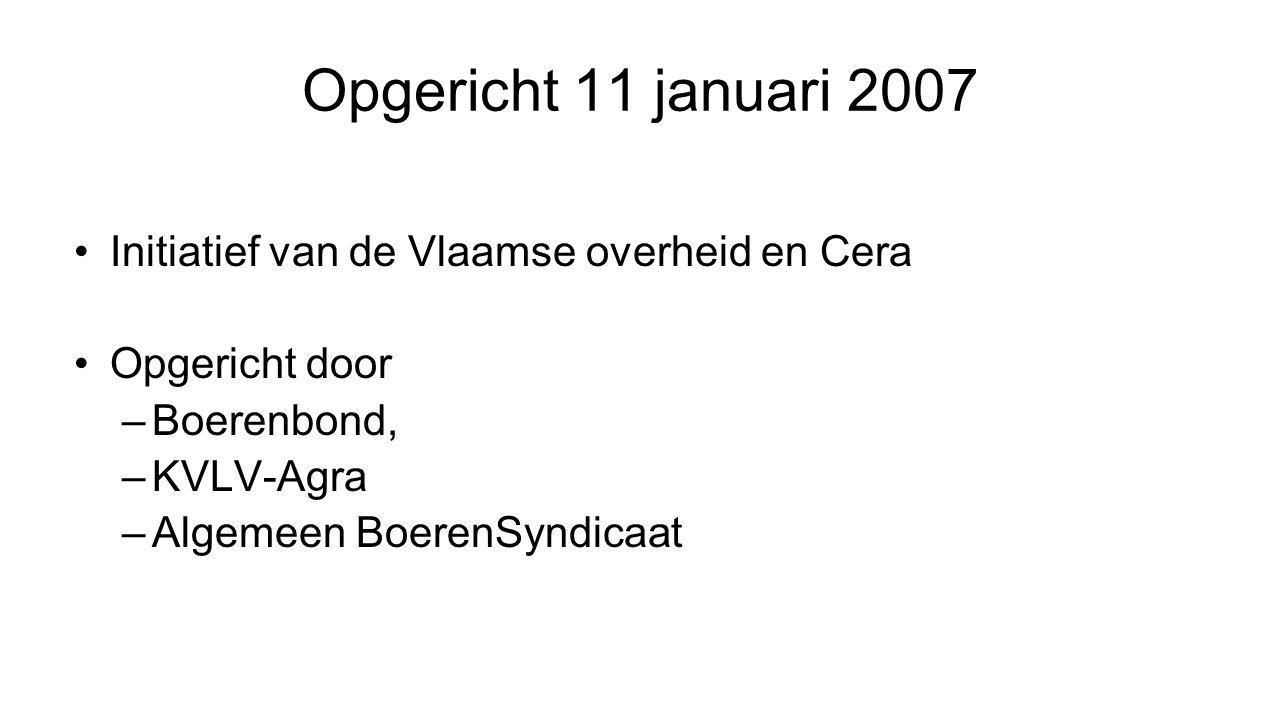 Opgericht 11 januari 2007 Initiatief van de Vlaamse overheid en Cera Opgericht door –Boerenbond, –KVLV-Agra –Algemeen BoerenSyndicaat