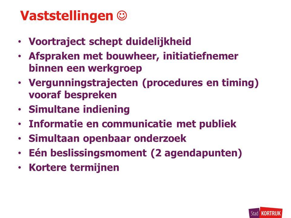 Voortraject schept duidelijkheid Afspraken met bouwheer, initiatiefnemer binnen een werkgroep Vergunningstrajecten (procedures en timing) vooraf bespr