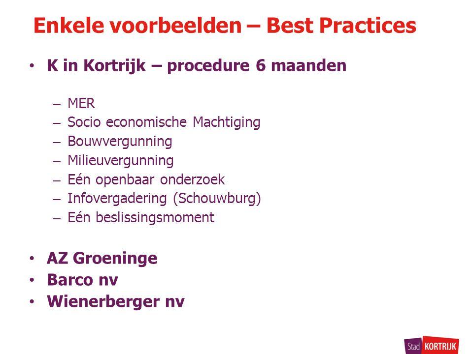 K in Kortrijk – procedure 6 maanden – MER – Socio economische Machtiging – Bouwvergunning – Milieuvergunning – Eén openbaar onderzoek – Infovergaderin