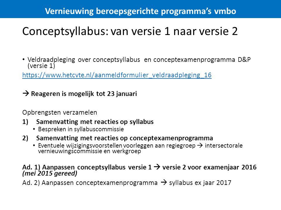 Conceptsyllabus: van versie 1 naar versie 2 Veldraadpleging over conceptsyllabus en conceptexamenprogramma D&P (versie 1) https://www.hetcvte.nl/aanmeldformulier_veldraadpleging_16  Reageren is mogelijk tot 23 januari Opbrengsten verzamelen 1)Samenvatting met reacties op syllabus Bespreken in syllabuscommissie 2)Samenvatting met reacties op conceptexamenprogramma Eventuele wijzigingsvoorstellen voorleggen aan regiegroep  intersectorale vernieuwingscommissie en werkgroep Ad.