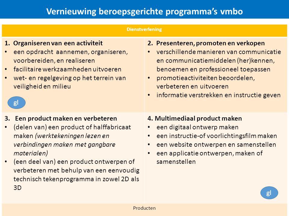Vernieuwing beroepsgerichte programma's vmbo Dienstverlening 1.